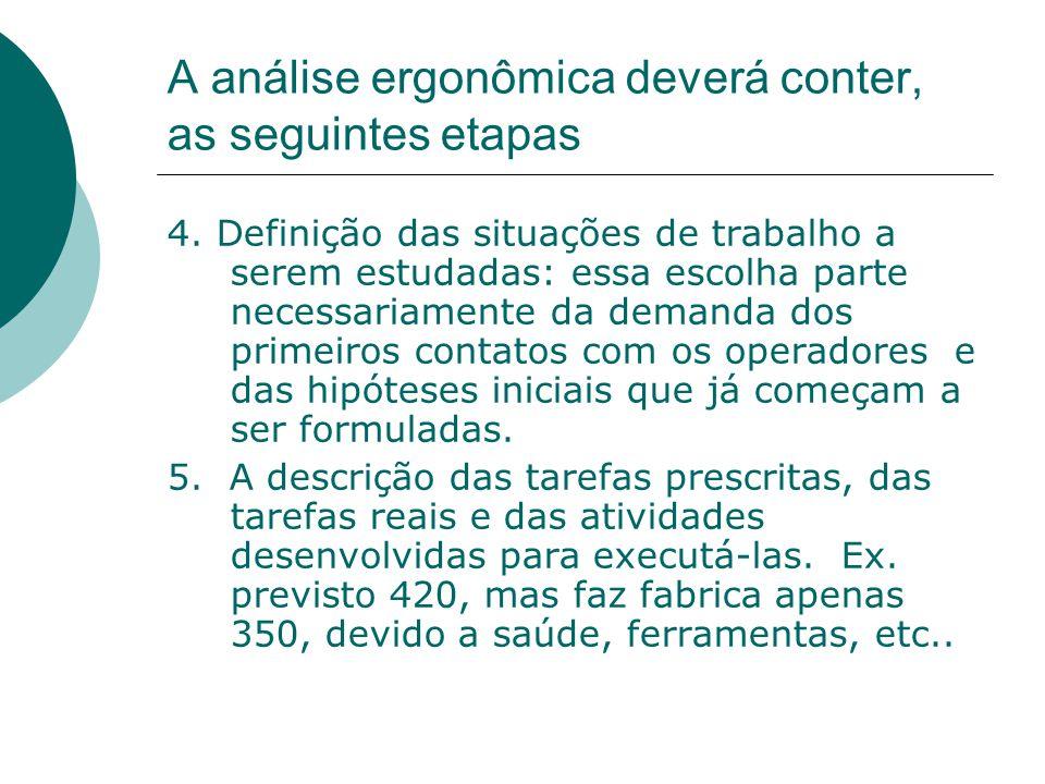 A análise ergonômica deverá conter, as seguintes etapas 4. Definição das situações de trabalho a serem estudadas: essa escolha parte necessariamente d