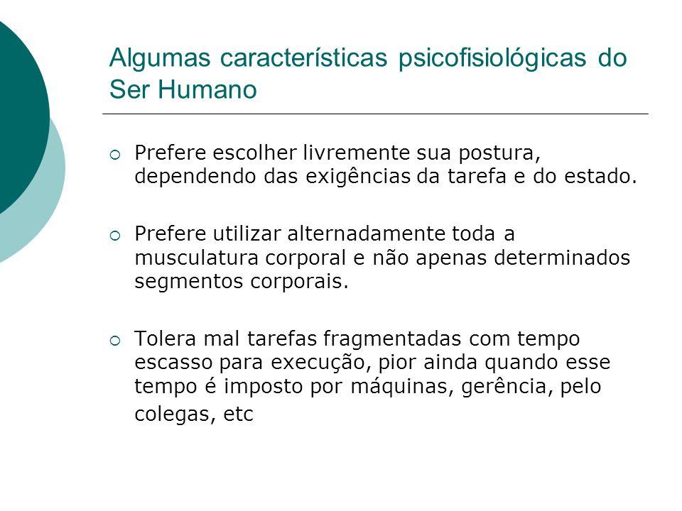 Algumas características psicofisiológicas do Ser Humano  Prefere escolher livremente sua postura, dependendo das exigências da tarefa e do estado. 