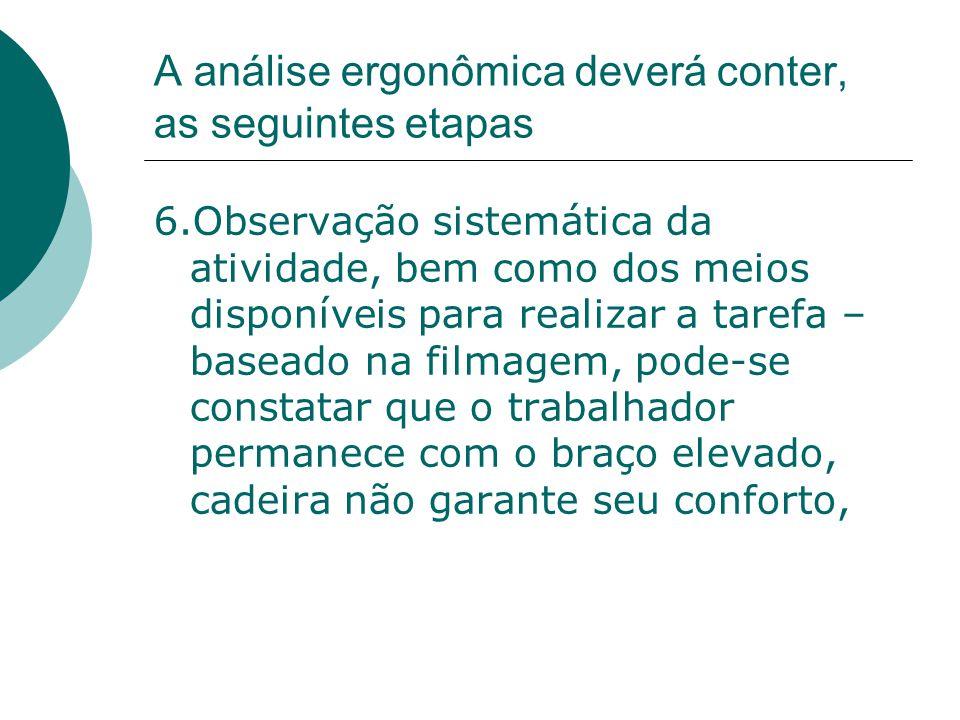 A análise ergonômica deverá conter, as seguintes etapas 6.Observação sistemática da atividade, bem como dos meios disponíveis para realizar a tarefa –