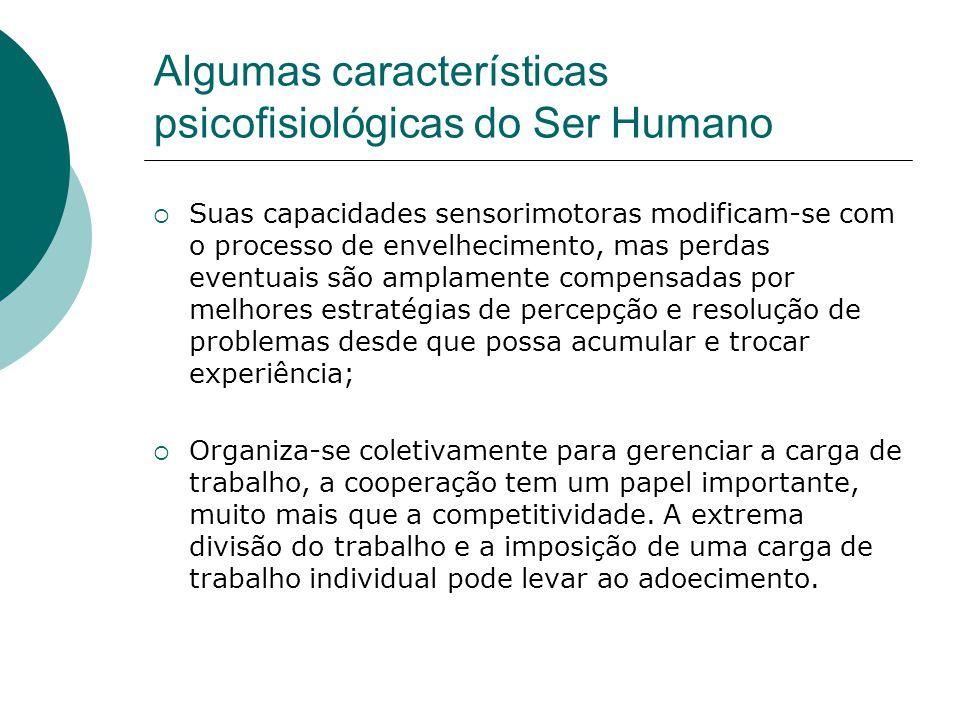 Algumas características psicofisiológicas do Ser Humano  Suas capacidades sensorimotoras modificam-se com o processo de envelhecimento, mas perdas ev