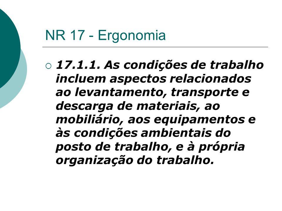 NR 17 - Ergonomia  17.1.1. As condições de trabalho incluem aspectos relacionados ao levantamento, transporte e descarga de materiais, ao mobiliário,