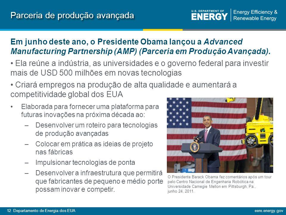 12 Departamento de Energia dos EUAeere.energy.gov Parceria de produção avançada Em junho deste ano, o Presidente Obama lançou a Advanced Manufacturing Partnership (AMP) (Parceria em Produção Avançada).