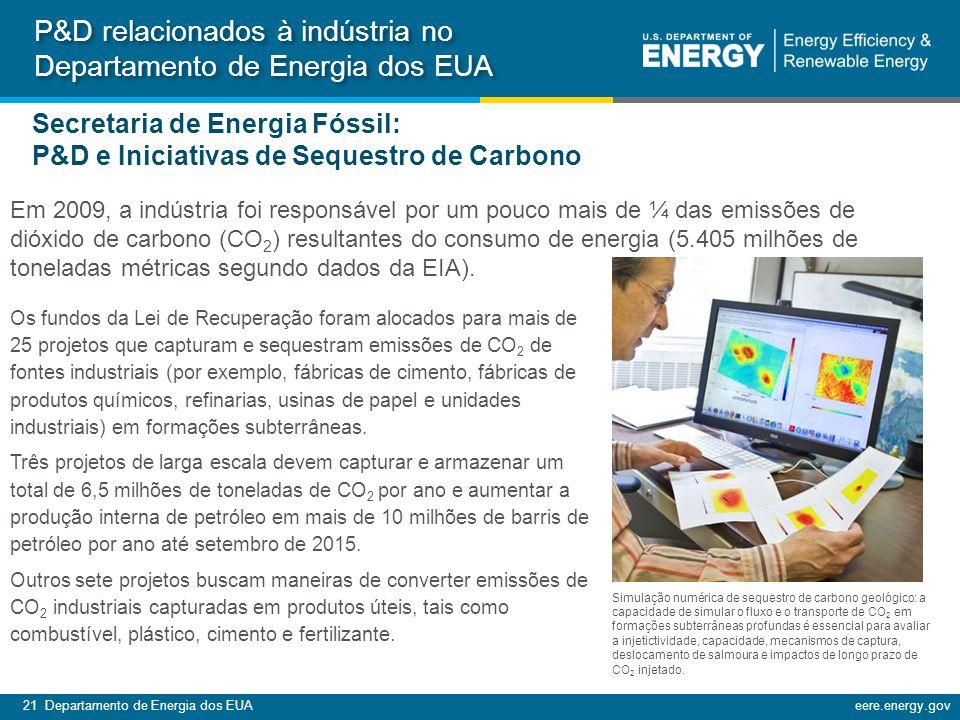 21 Departamento de Energia dos EUAeere.energy.gov Em 2009, a indústria foi responsável por um pouco mais de ¼ das emissões de dióxido de carbono (CO 2 ) resultantes do consumo de energia (5.405 milhões de toneladas métricas segundo dados da EIA).