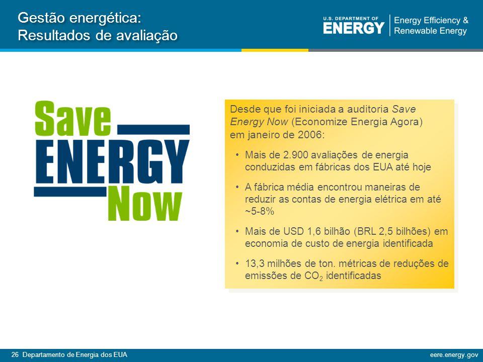 26 Departamento de Energia dos EUAeere.energy.gov Desde que foi iniciada a auditoria Save Energy Now (Economize Energia Agora) em janeiro de 2006: Mais de 2.900 avaliações de energia conduzidas em fábricas dos EUA até hoje A fábrica média encontrou maneiras de reduzir as contas de energia elétrica em até ~5-8% Mais de USD 1,6 bilhão (BRL 2,5 bilhões) em economia de custo de energia identificada 13,3 milhões de ton.
