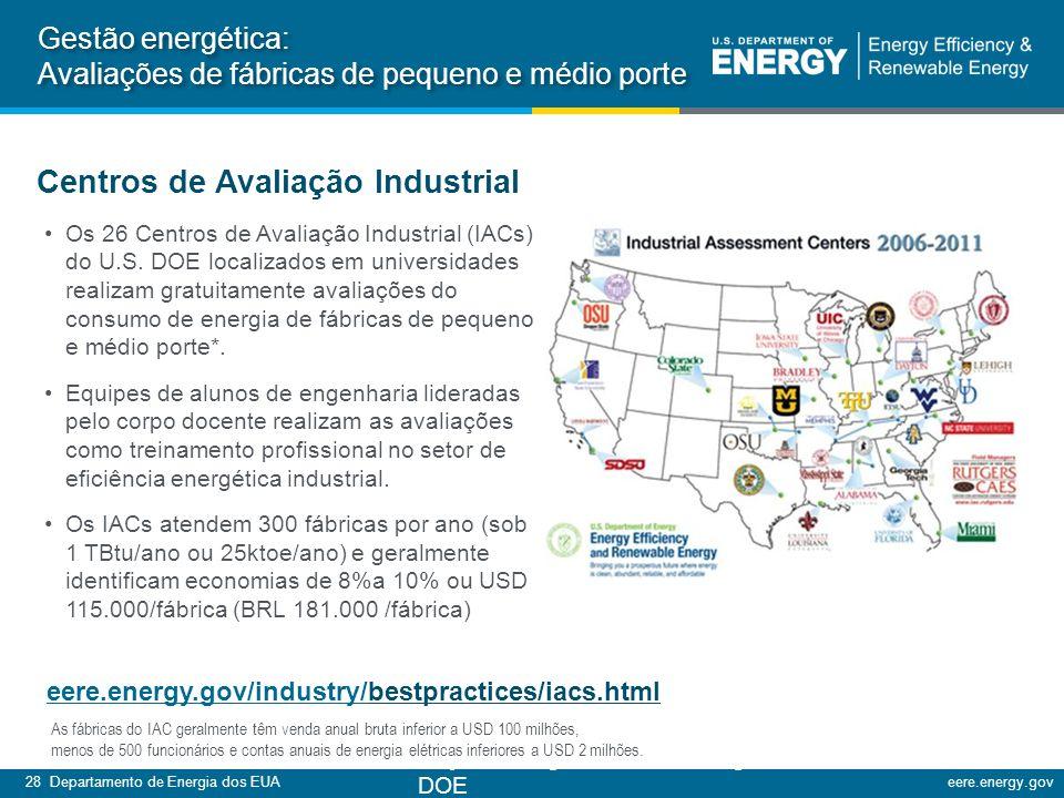 28 Departamento de Energia dos EUAeere.energy.gov Os 26 Centros de Avaliação Industrial (IACs) do U.S.