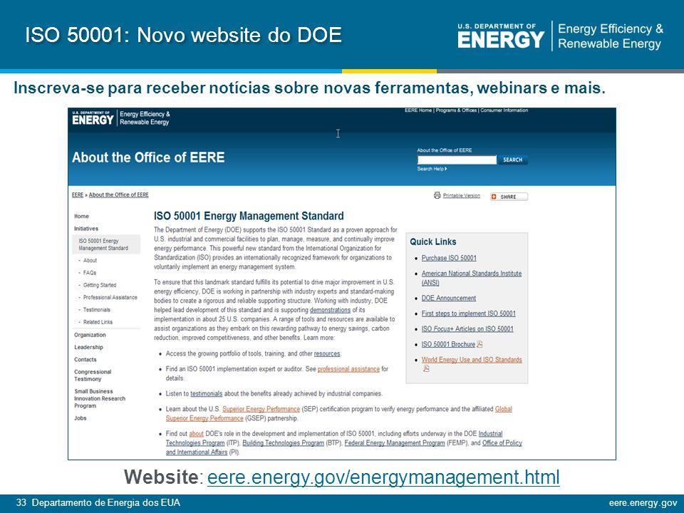 33 Departamento de Energia dos EUAeere.energy.gov l ISO 50001: Novo website do DOE Inscreva-se para receber notícias sobre novas ferramentas, webinars e mais.