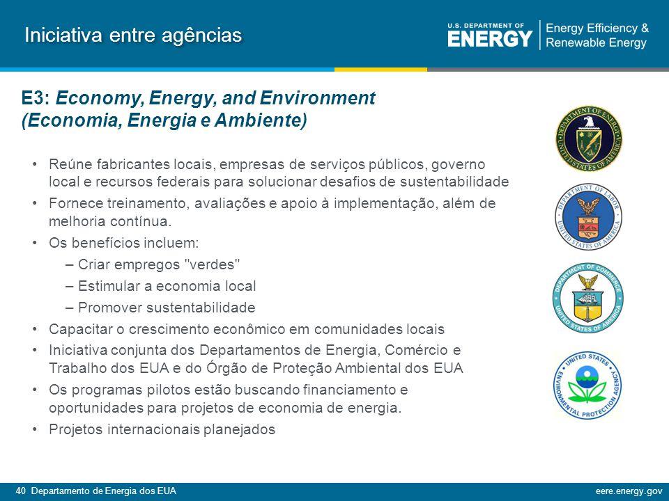 40 Departamento de Energia dos EUAeere.energy.gov Reúne fabricantes locais, empresas de serviços públicos, governo local e recursos federais para solucionar desafios de sustentabilidade Fornece treinamento, avaliações e apoio à implementação, além de melhoria contínua.