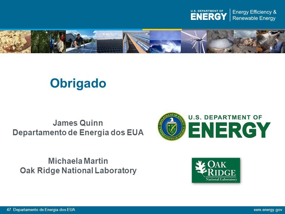 47 Departamento de Energia dos EUAeere.energy.gov Obrigado James Quinn Departamento de Energia dos EUA Michaela Martin Oak Ridge National Laboratory
