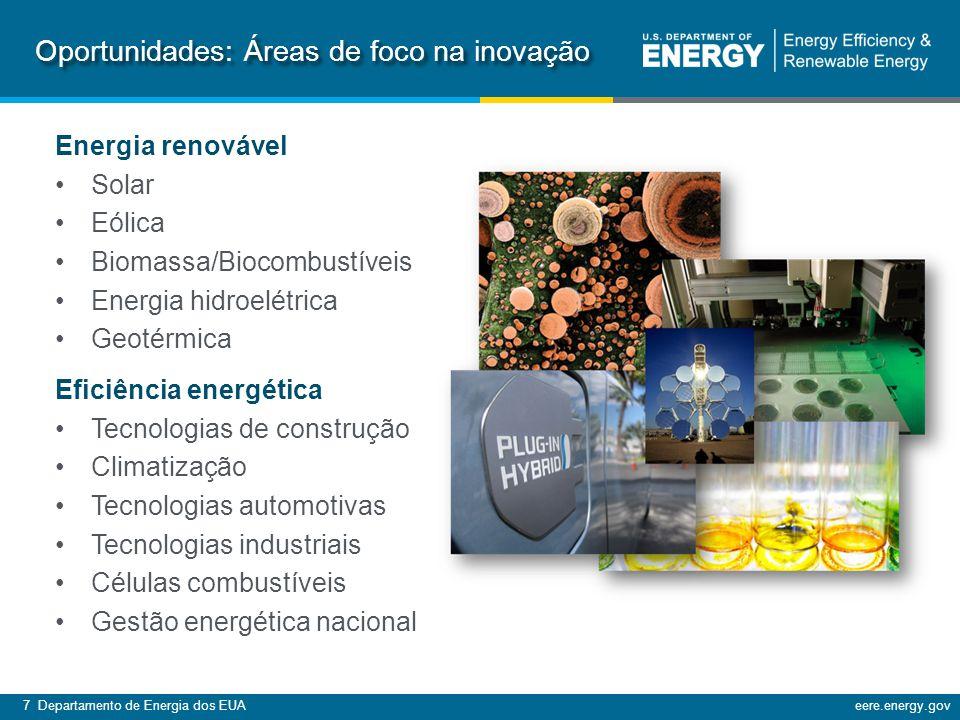 7 Departamento de Energia dos EUAeere.energy.gov Energia renovável Solar Eólica Biomassa/Biocombustíveis Energia hidroelétrica Geotérmica Eficiência energética Tecnologias de construção Climatização Tecnologias automotivas Tecnologias industriais Células combustíveis Gestão energética nacional Oportunidades: Áreas de foco na inovação