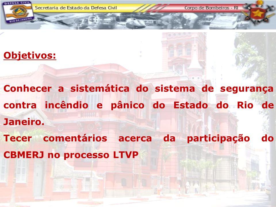 Objetivos: Conhecer a sistemática do sistema de segurança contra incêndio e pânico do Estado do Rio de Janeiro. Tecer comentários acerca da participaç