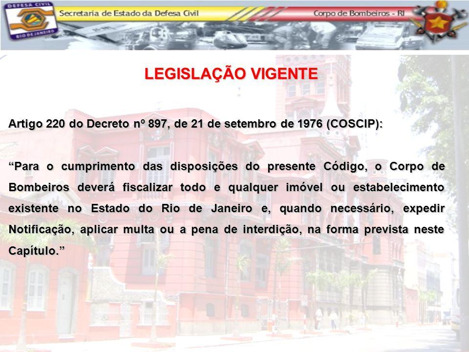 """Artigo 220 do Decreto nº 897, de 21 de setembro de 1976 (COSCIP): """"Para o cumprimento das disposições do presente Código, o Corpo de Bombeiros deverá"""