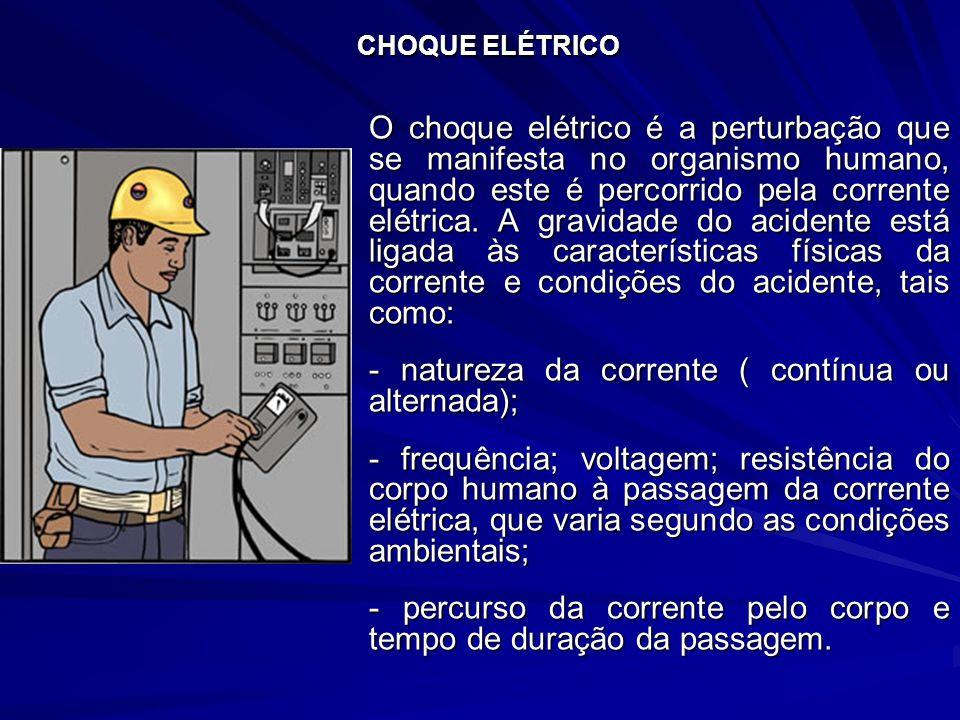 CHOQUE ELÉTRICO O choque elétrico é a perturbação que se manifesta no organismo humano, quando este é percorrido pela corrente elétrica.