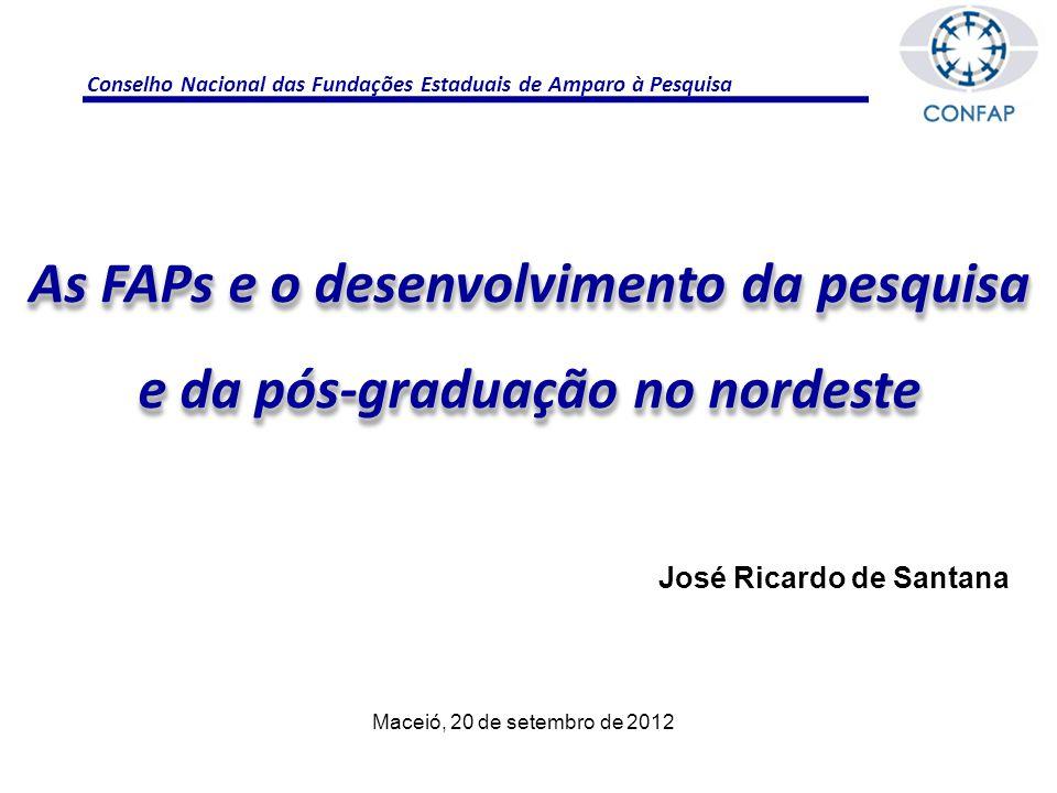 Conselho Nacional das Fundações Estaduais de Amparo à Pesquisa As FAPs e o desenvolvimento da pesquisa e da pós-graduação no nordeste José Ricardo de Santana Maceió, 20 de setembro de 2012