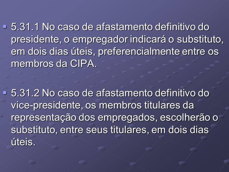  5.31.1 No caso de afastamento definitivo do presidente, o empregador indicará o substituto, em dois dias úteis, preferencialmente entre os membros d