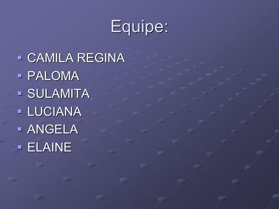 Equipe:  CAMILA REGINA  PALOMA  SULAMITA  LUCIANA  ANGELA  ELAINE