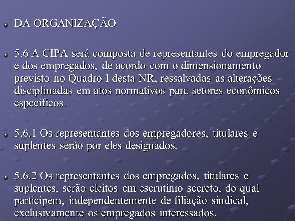 DA ORGANIZAÇÃO 5.6 A CIPA será composta de representantes do empregador e dos empregados, de acordo com o dimensionamento previsto no Quadro I desta N