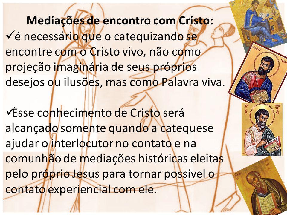 Mediações de encontro com Cristo: é necessário que o catequizando se encontre com o Cristo vivo, não como projeção imaginária de seus próprios desejos