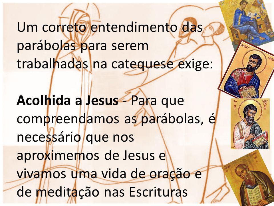 Um correto entendimento das parábolas para serem trabalhadas na catequese exige: Acolhida a Jesus - Para que compreendamos as parábolas, é necessário