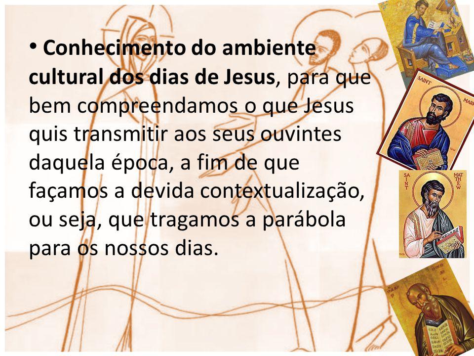 Conhecimento do ambiente cultural dos dias de Jesus, para que bem compreendamos o que Jesus quis transmitir aos seus ouvintes daquela época, a fim de