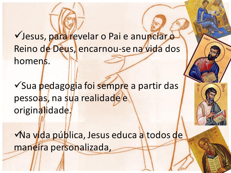 Jesus, para revelar o Pai e anunciar o Reino de Deus, encarnou-se na vida dos homens. Sua pedagogia foi sempre a partir das pessoas, na sua realidade
