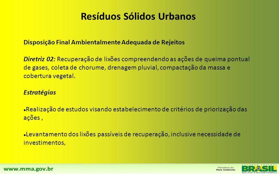Resíduos Sólidos Urbanos Disposição Final Ambientalmente Adequada de Rejeitos Diretriz 01: Eliminação de lixões e aterros controlados até 2014 e Dispo