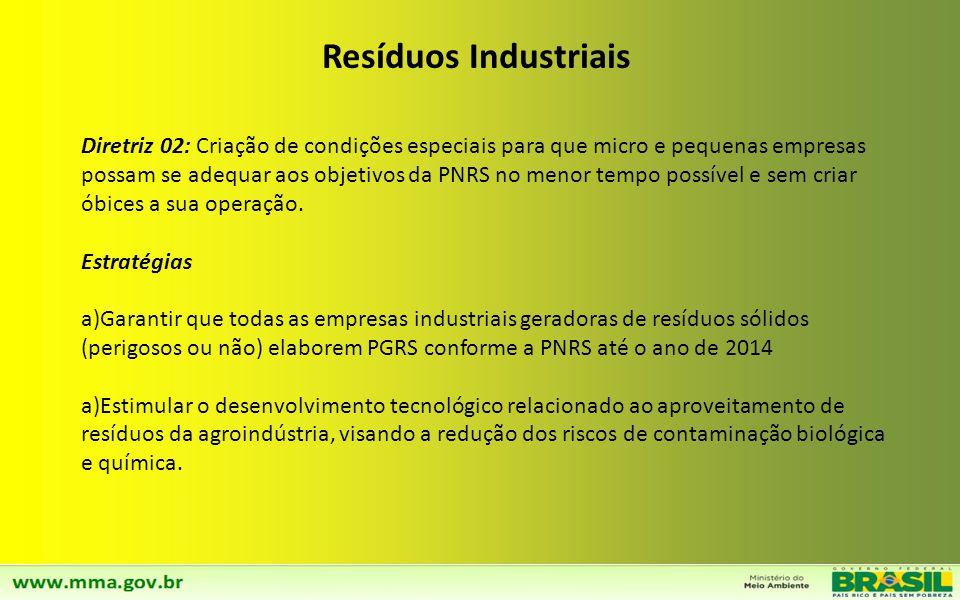 Diretriz 01: A principal diretriz da Política Nacional de Resíduos Sólidos para os resíduos sólidos industriais (RSI) é a eliminação completa dos resí