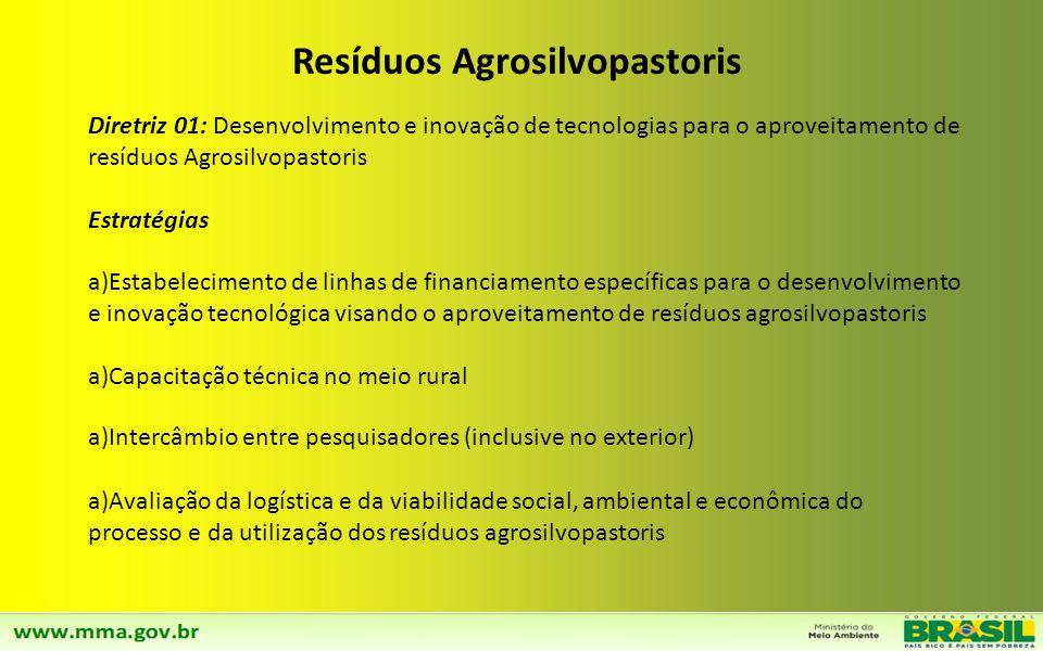Diretriz 01: Compatibilização do Plano Nacional de Resíduos Sólidos com o Plano de Mineração. Estratégias a)Promover, até 2014, a integração entre os