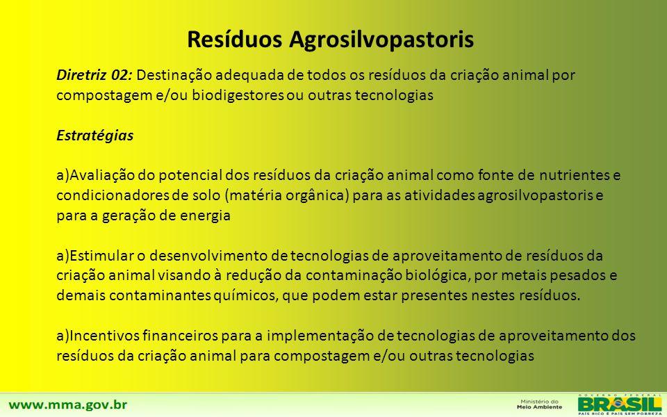 Diretriz 01: Desenvolvimento e inovação de tecnologias para o aproveitamento de resíduos Agrosilvopastoris Estratégias a)Estabelecimento de linhas de