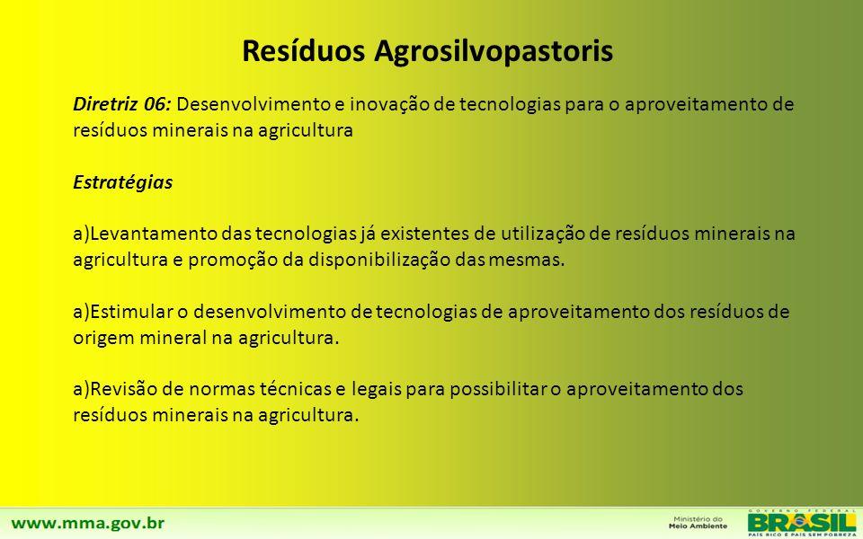 Diretriz 05: Ampliação da Logística Reversa para todas as categorias de Resíduos Agrosilvopastoris Implementação da logística reversa para todas as ca