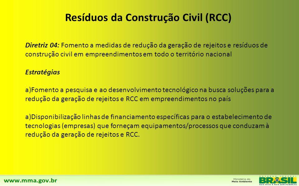 Diretriz 03: Incremento das atividades de reutilização e reciclagem dos RCC nos empreendimentos em todo o território nacional. Estratégias a)Fomento a