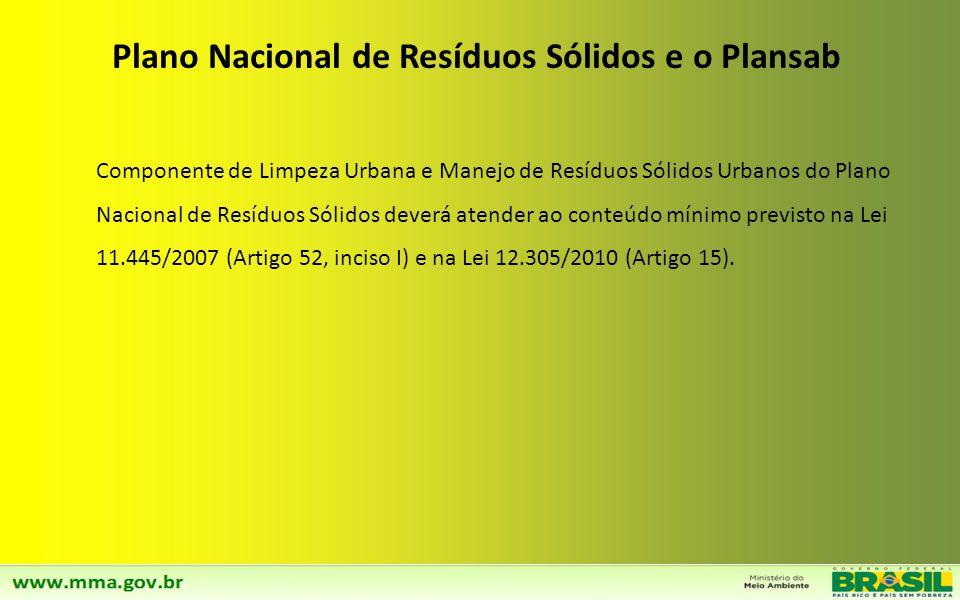 Componente de Limpeza Urbana e Manejo de Resíduos Sólidos Urbanos do Plano Nacional de Resíduos Sólidos deverá atender ao conteúdo mínimo previsto na Lei 11.445/2007 (Artigo 52, inciso I) e na Lei 12.305/2010 (Artigo 15).