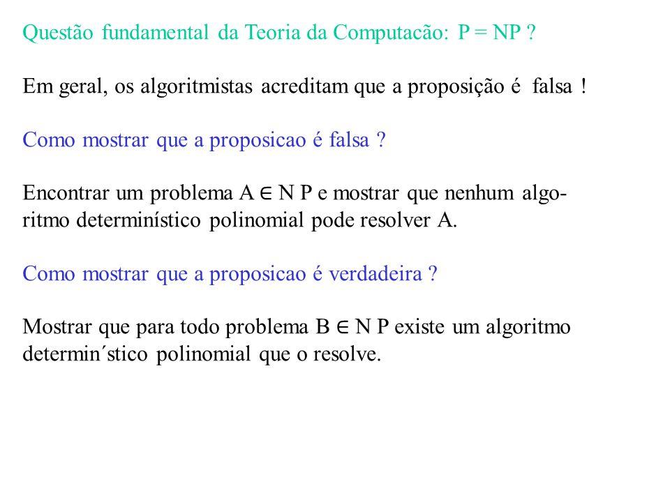 Questão fundamental da Teoria da Computacão: P = NP .