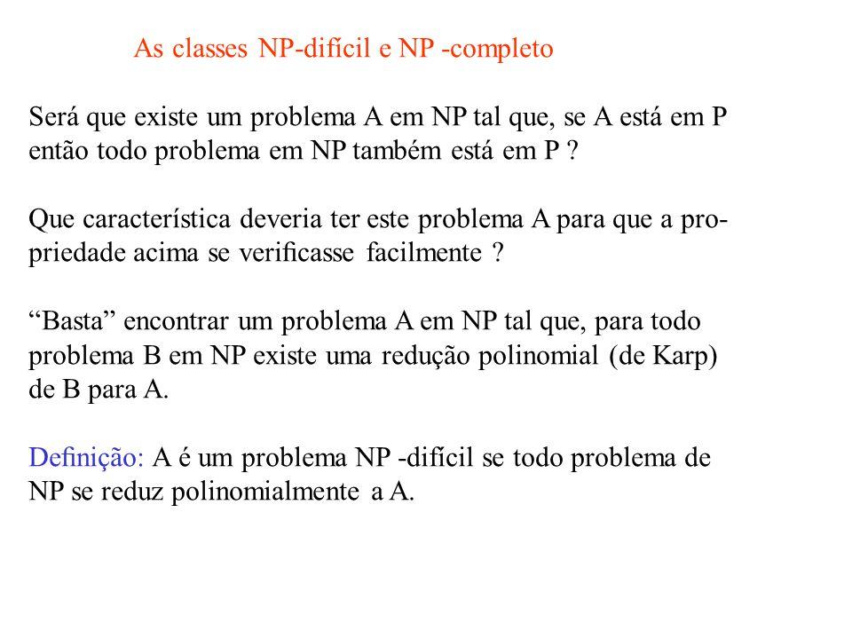 As classes NP-difícil e NP -completo Será que existe um problema A em NP tal que, se A está em P então todo problema em NP também está em P .