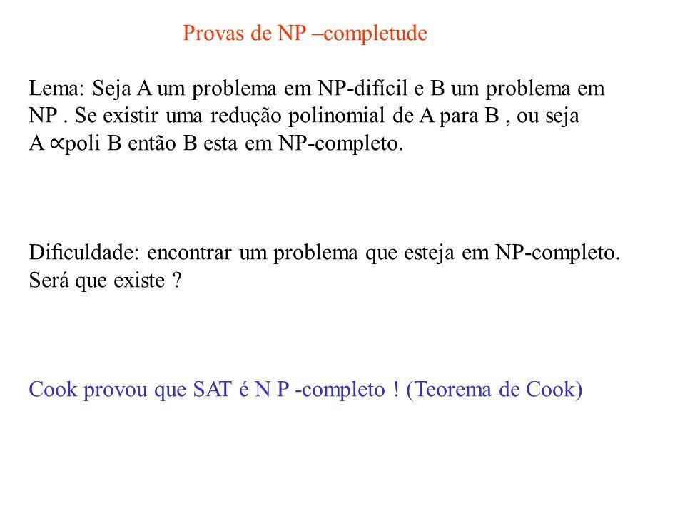 Provas de NP –completude Lema: Seja A um problema em NP-difícil e B um problema em NP.
