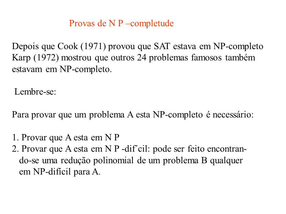Provas de N P –completude Depois que Cook (1971) provou que SAT estava em NP-completo Karp (1972) mostrou que outros 24 problemas famosos também estavam em NP-completo.