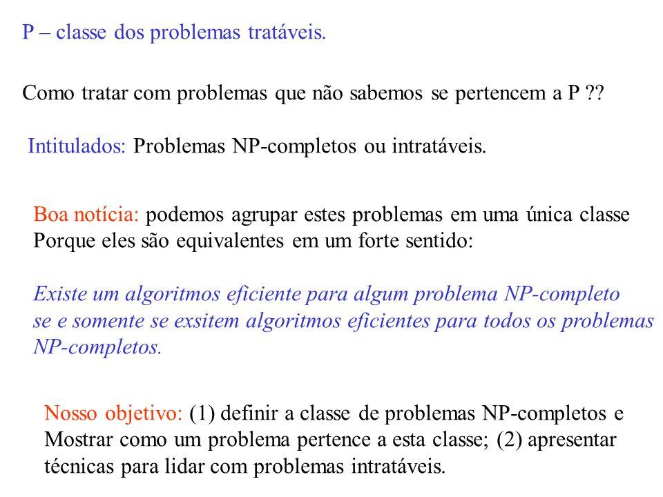 P – classe dos problemas tratáveis.Como tratar com problemas que não sabemos se pertencem a P ?.