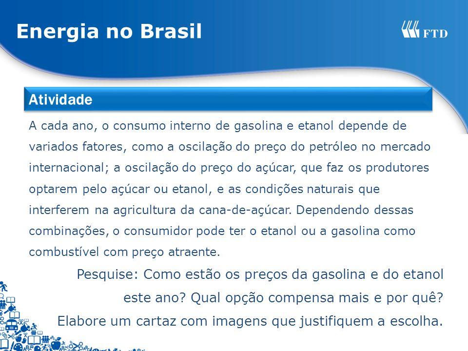 Energia no Brasil A cada ano, o consumo interno de gasolina e etanol depende de variados fatores, como a oscilação do preço do petróleo no mercado internacional; a oscilação do preço do açúcar, que faz os produtores optarem pelo açúcar ou etanol, e as condições naturais que interferem na agricultura da cana-de-açúcar.