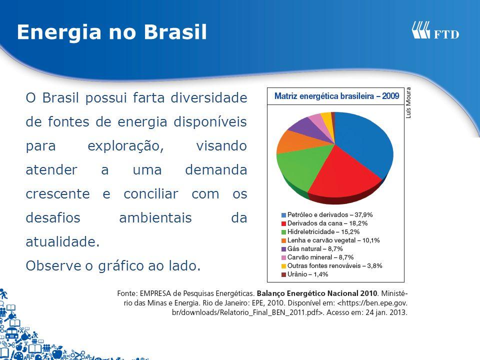 Energia no Brasil O Brasil possui farta diversidade de fontes de energia disponíveis para exploração, visando atender a uma demanda crescente e concil