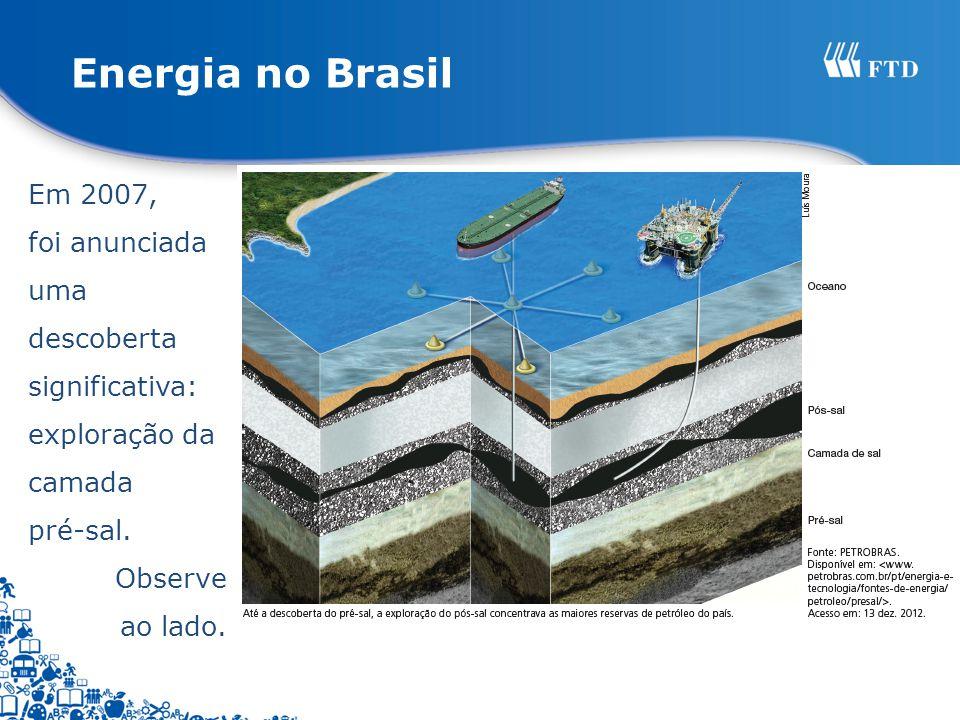 Em 2007, foi anunciada uma descoberta significativa: exploração da camada pré-sal. Observe ao lado.