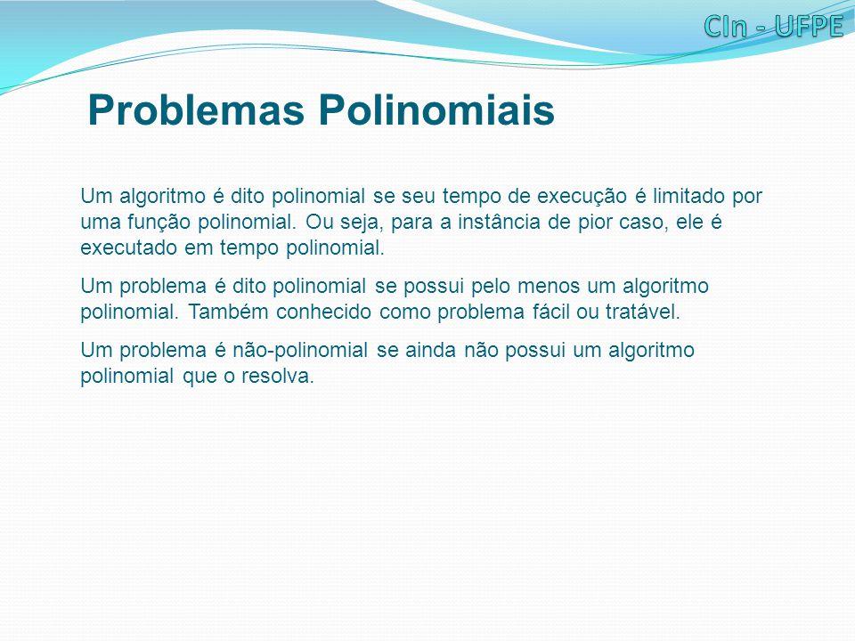 Problemas Polinomiais Um algoritmo é dito polinomial se seu tempo de execução é limitado por uma função polinomial.