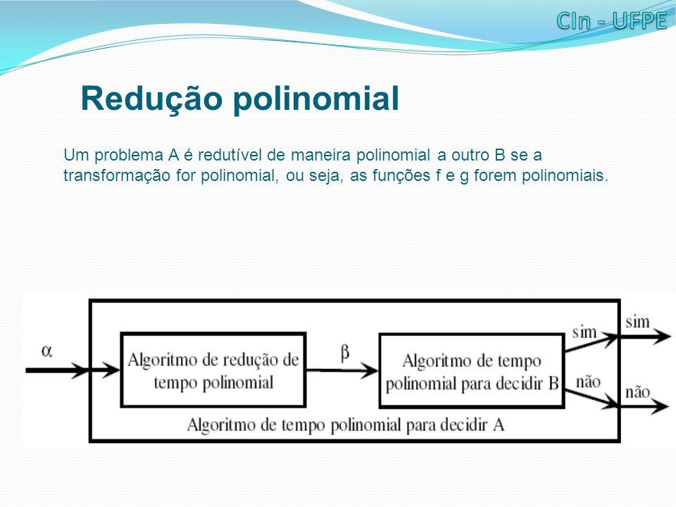 Redução polinomial Um problema A é redutível de maneira polinomial a outro B se a transformação for polinomial, ou seja, as funções f e g forem polino