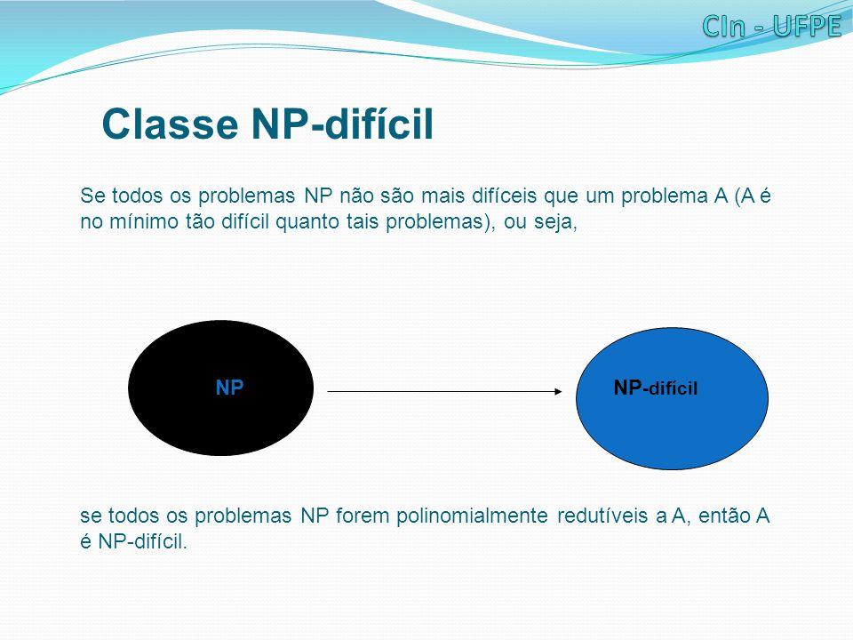 Classe NP-difícil Se todos os problemas NP não são mais difíceis que um problema A (A é no mínimo tão difícil quanto tais problemas), ou seja, NPNP -difícil se todos os problemas NP forem polinomialmente redutíveis a A, então A é NP-difícil.