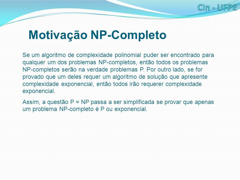 Motivação NP-Completo Se um algoritmo de complexidade polinomial puder ser encontrado para qualquer um dos problemas NP-completos, então todos os prob