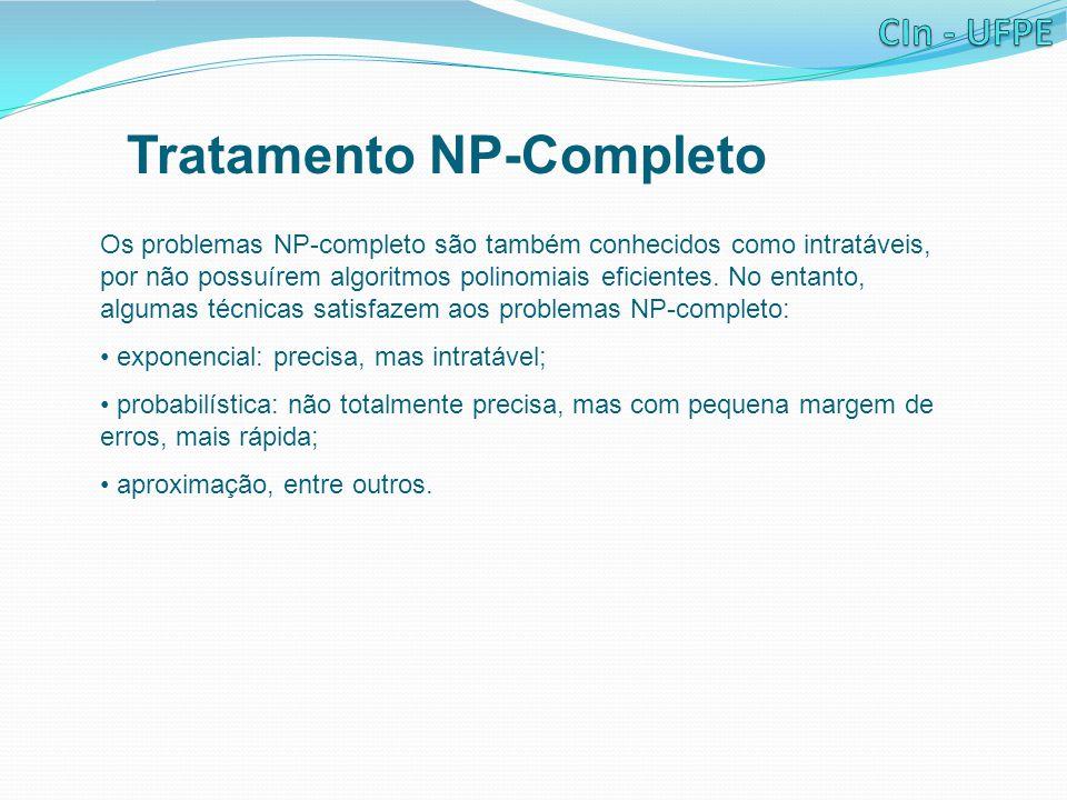 Tratamento NP-Completo Os problemas NP-completo são também conhecidos como intratáveis, por não possuírem algoritmos polinomiais eficientes.