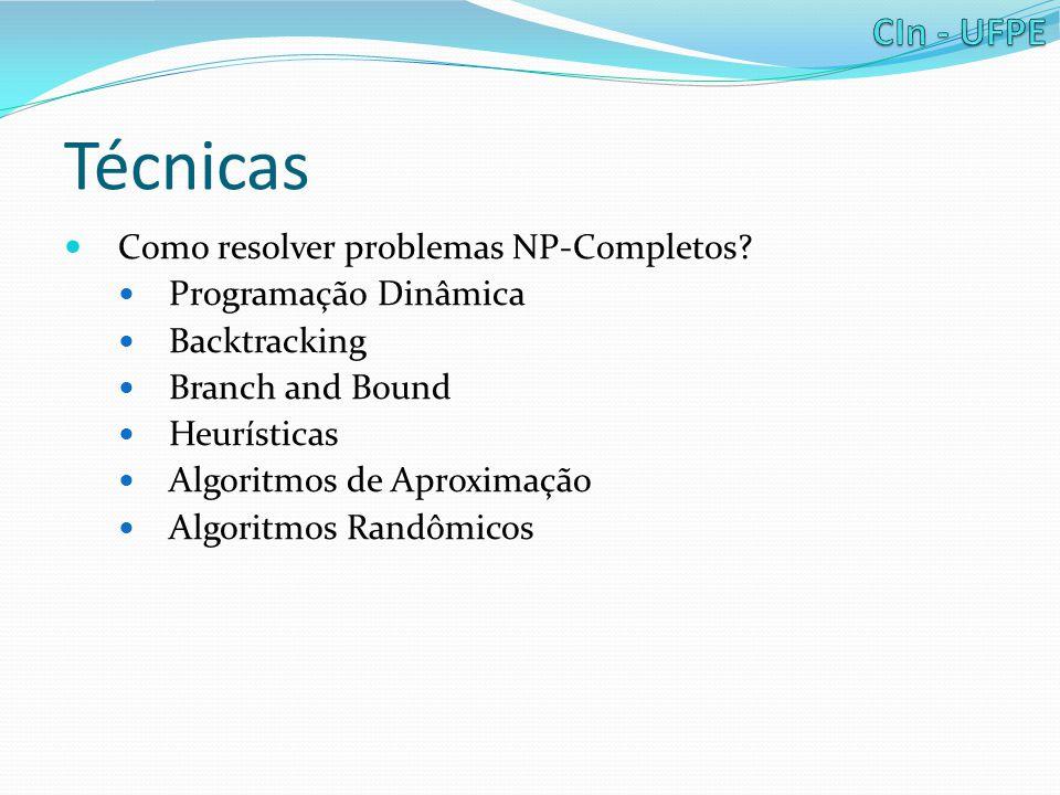 Técnicas Como resolver problemas NP-Completos? Programação Dinâmica Backtracking Branch and Bound Heurísticas Algoritmos de Aproximação Algoritmos Ran