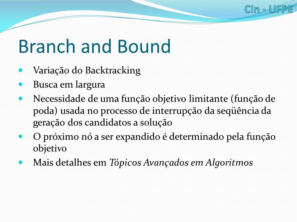 Branch and Bound Variação do Backtracking Busca em largura Necessidade de uma função objetivo limitante (função de poda) usada no processo de interrupção da seqüência da geração dos candidatos a solução O próximo nó a ser expandido é determinado pela função objetivo Mais detalhes em Tópicos Avançados em Algoritmos