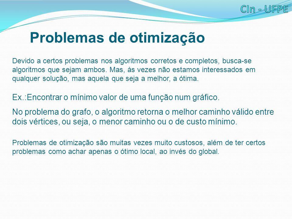 Problemas de otimização Devido a certos problemas nos algoritmos corretos e completos, busca-se algoritmos que sejam ambos.