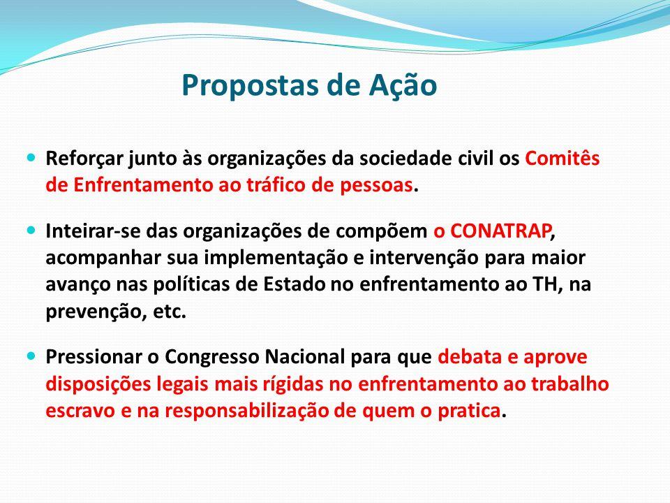 Propostas de Ação Reforçar junto às organizações da sociedade civil os Comitês de Enfrentamento ao tráfico de pessoas.