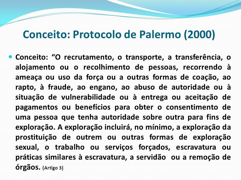 Conceito: Protocolo de Palermo (2000) Conceito: O recrutamento, o transporte, a transferência, o alojamento ou o recolhimento de pessoas, recorrendo à ameaça ou uso da força ou a outras formas de coação, ao rapto, à fraude, ao engano, ao abuso de autoridade ou à situação de vulnerabilidade ou à entrega ou aceitação de pagamentos ou benefícios para obter o consentimento de uma pessoa que tenha autoridade sobre outra para fins de exploração.