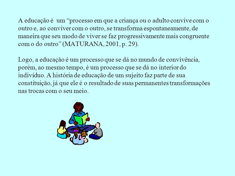 """A educação é um """"processo em que a criança ou o adulto convive com o outro e, ao conviver com o outro, se transforma espontaneamente, de maneira que s"""